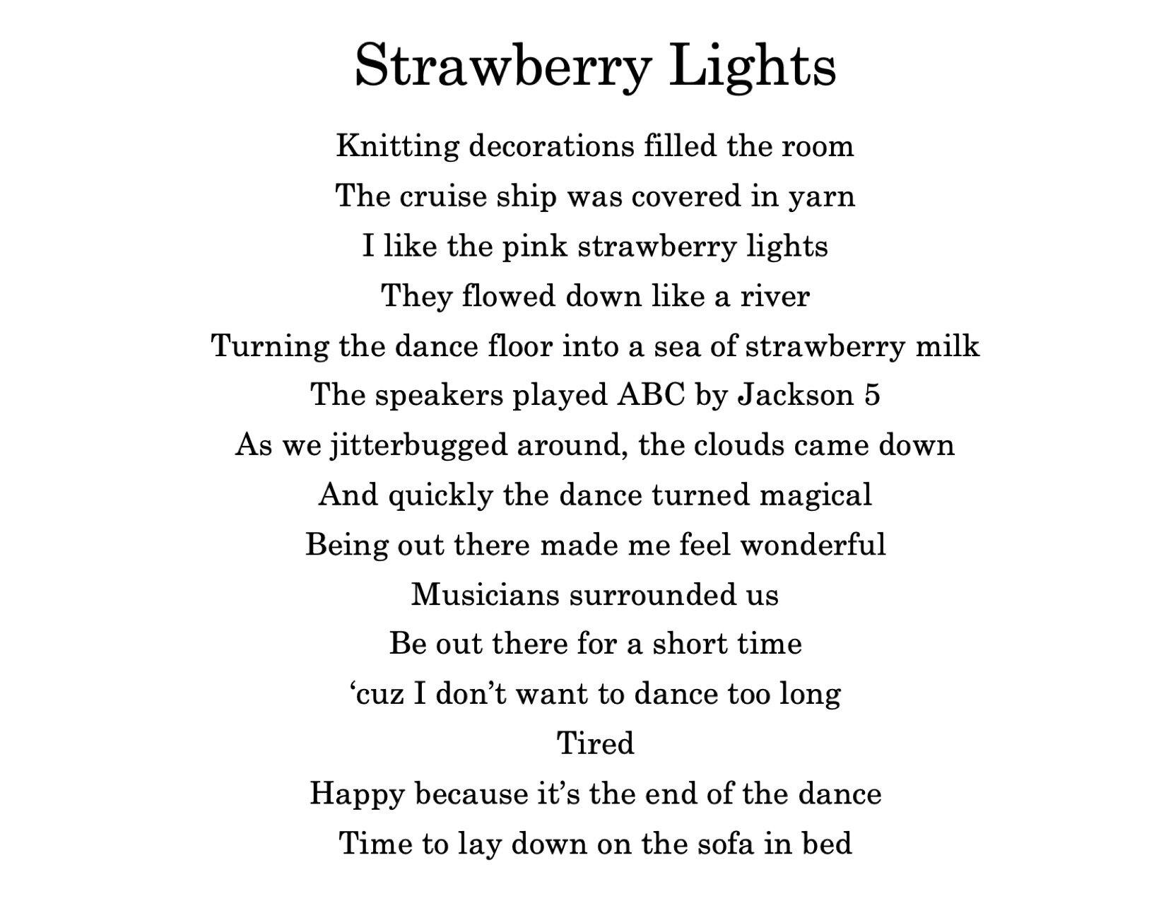 Strawberry Lights Poem